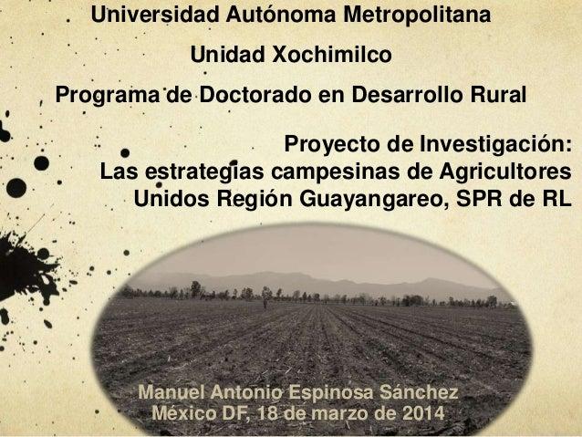 Universidad Autónoma Metropolitana Unidad Xochimilco Programa de Doctorado en Desarrollo Rural Proyecto de Investigación: ...