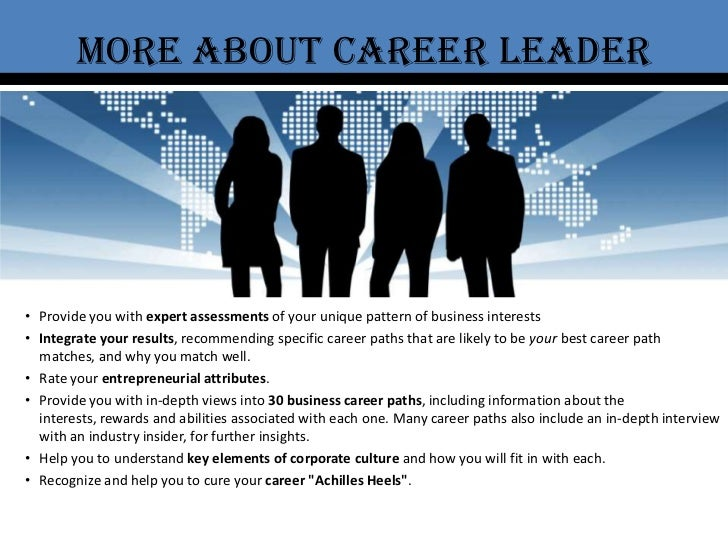 More about career leader<br /><ul><li>Provide you with expert assessments of your unique pattern of businessinterests
