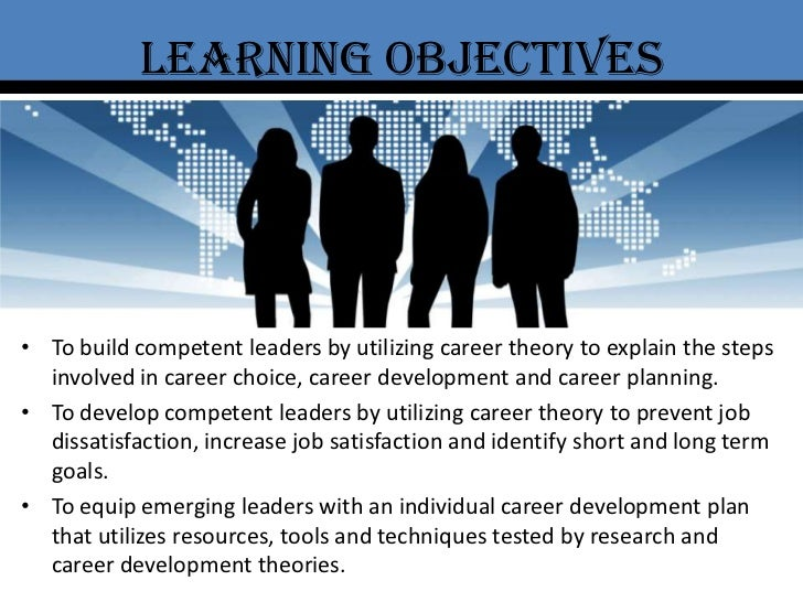 Learning objectives<br />To build competent leaders by utilizing career theory to explain the steps involved in career cho...