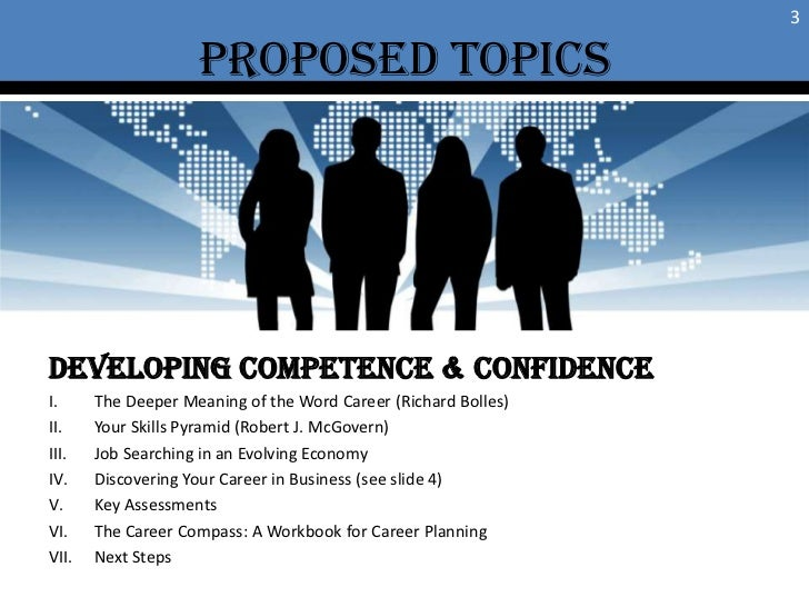 Proposed TOPICS<br />3<br />Developing Competence & confidence<br />The Deeper Meaning of the Word Career (Richard Bolles)...
