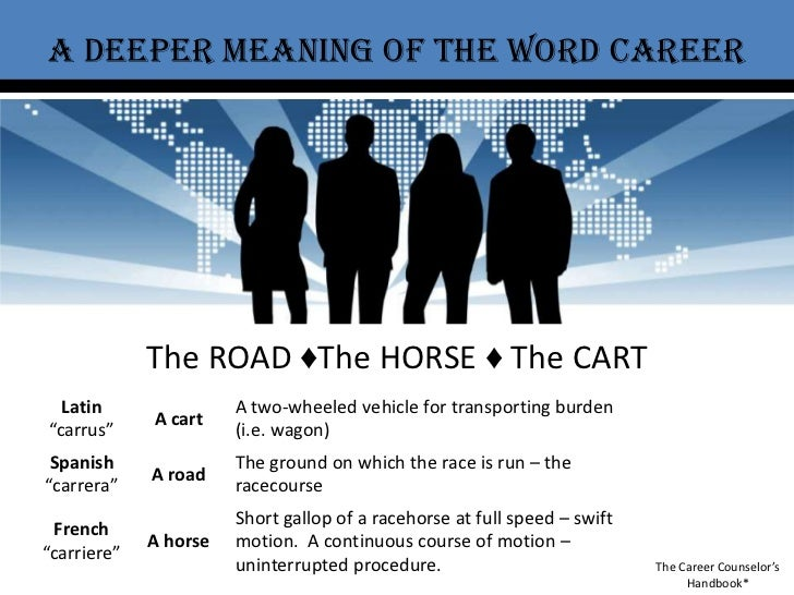 A deeper meaning of the word career<br />The ROAD ♦The HORSE ♦ The CART<br />The Career Counselor's Handbook*<br />