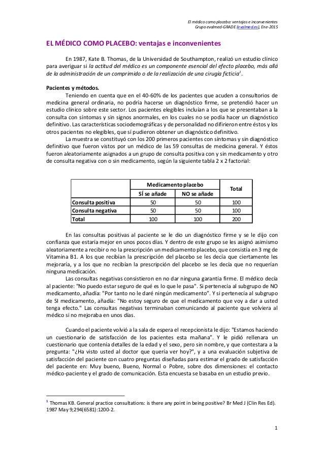 El médico como placebo: ventajas e inconvenientes Grupo evalmed-GRADE (evalmed.es), Ene-2015 EL MÉDICO COMO PLACEBO: venta...