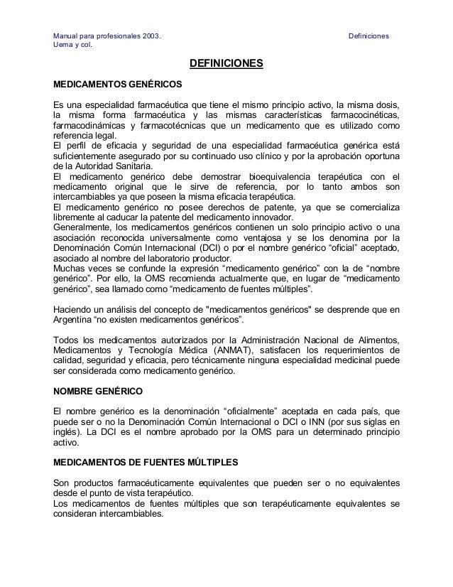 Manual para profesionales 2003.                                         DefinicionesUema y col.                           ...