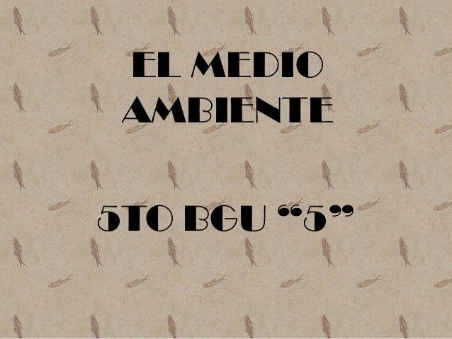 """EL MEDIO AMBIENTE5TO BGU """"5"""""""
