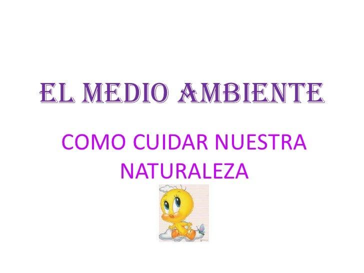 EL MEDIO AMBIENTE<br />COMO CUIDAR NUESTRA NATURALEZA<br />