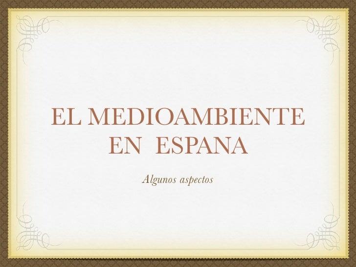 EL MEDIOAMBIENTE     EN ESPANA      Algunos aspectos