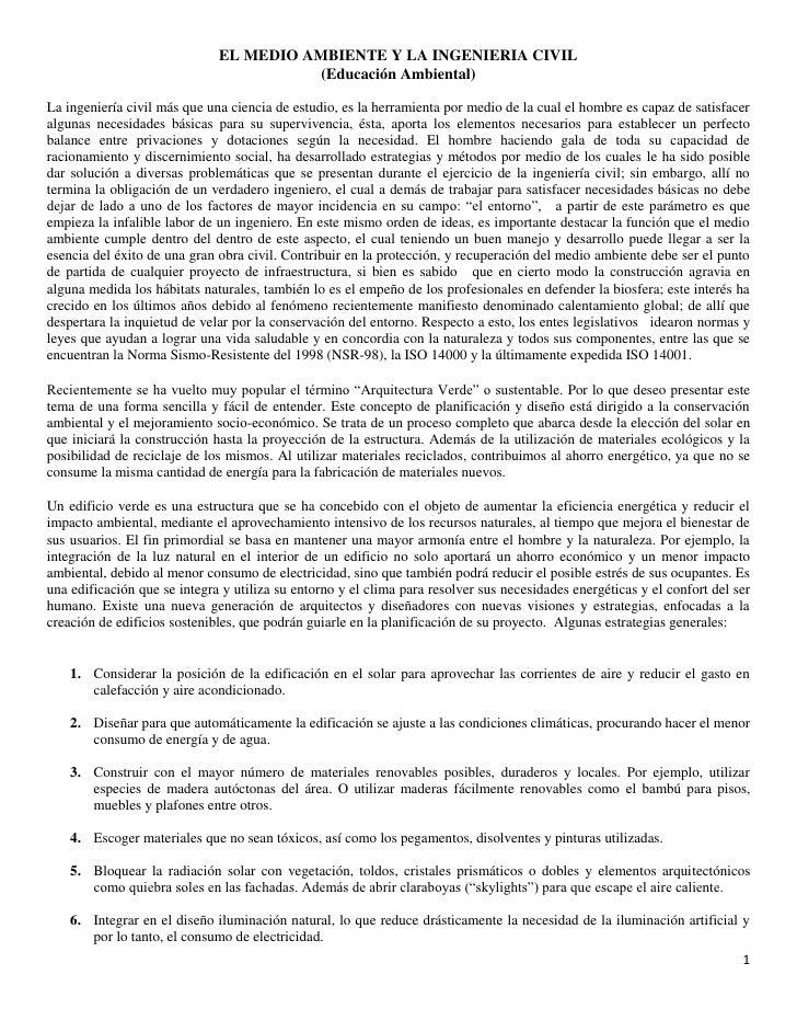 EL MEDIO AMBIENTE Y LA INGENIERIA CIVIL                                        (Educación Ambiental)La ingeniería civil má...