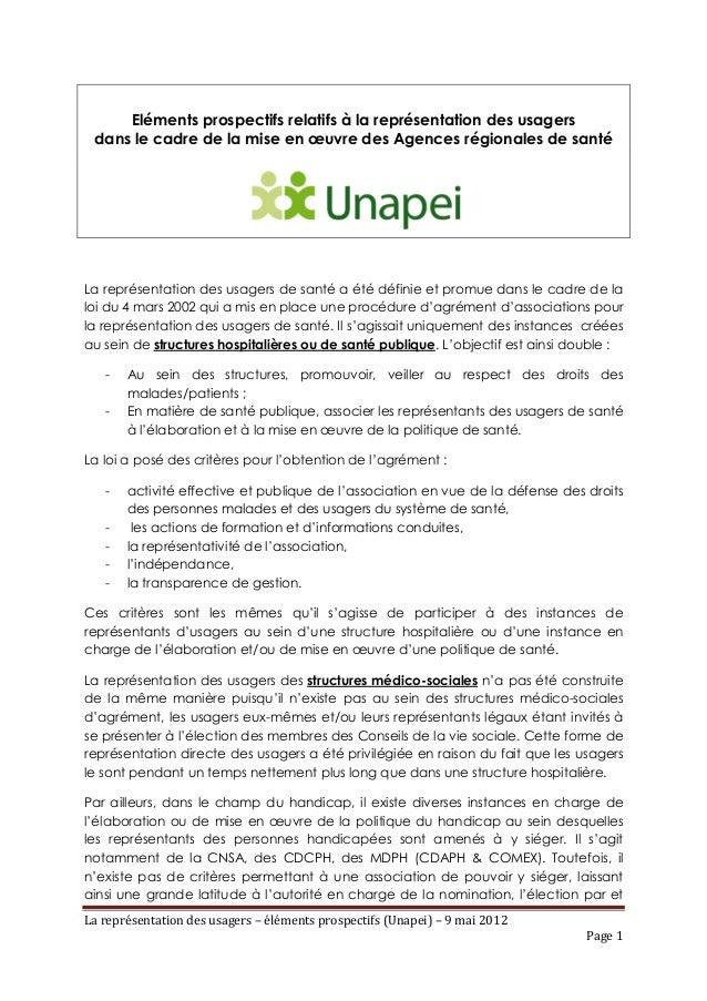 Eléments prospectifs relatifs à la représentation des usagers dans le cadre de la mise en œuvre des Agences régionales de ...