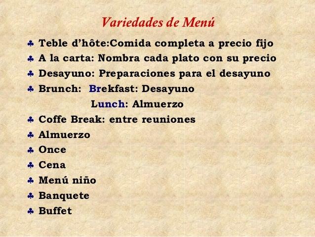Variedades de Menú♣   Teble d'hôte:Comida completa a precio fijo♣   A la carta: Nombra cada plato con su precio♣   Desayun...