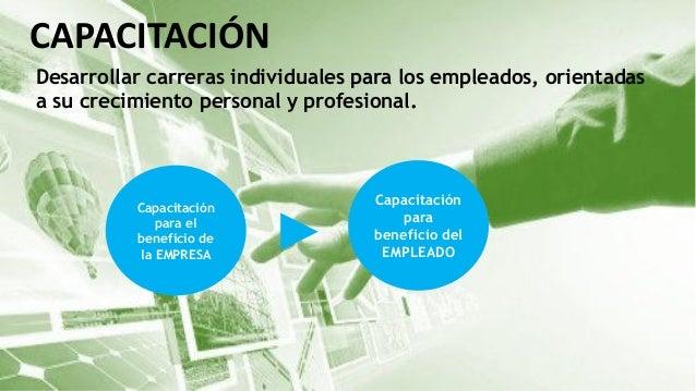 CAPACITACIÓN Desarrollar carreras individuales para los empleados, orientadas a su crecimiento personal y profesional. Cap...
