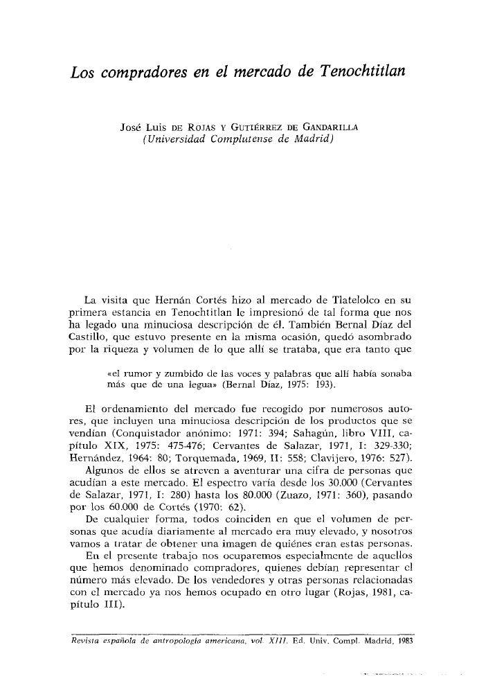 Los compradores en el mercado de Tenochtitlan               José Luis DE ROJAS Y GUTIÉRREZ DF GANDARILLA                  ...