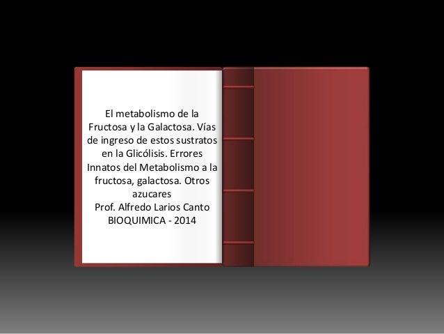 Introducción El metabolismo de la Fructosa y la Galactosa. Vías de ingreso de estos sustratos en la Glicólisis. Errores In...