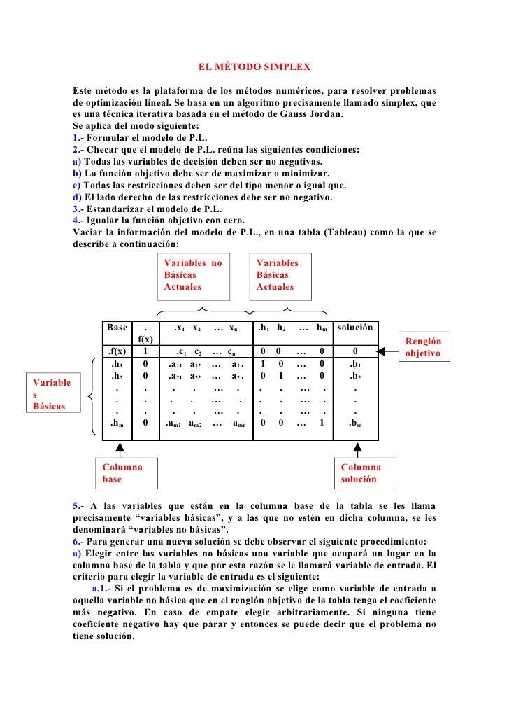 EL MÉTODO SIMPLEX             Este método es la plataforma de los métodos numéricos, para resolver problemas            de...