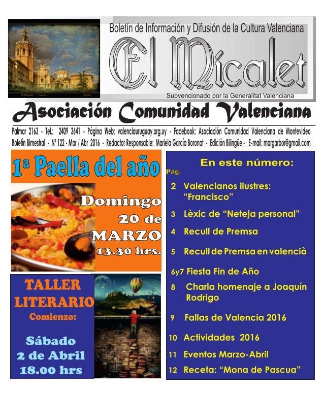 Subvencionado por la Generalitat Valenciana  ¿Asociación Comunidad 'Valenciana  Palmar 2163 - iel. : 2409 364i - Pagina We...