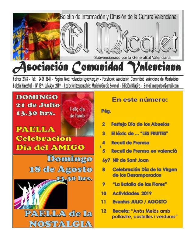 Boletín de Información y Difusión de la Cultura Valenciana Subvencionado por la Generalitat Valenciana En este número: Pal...