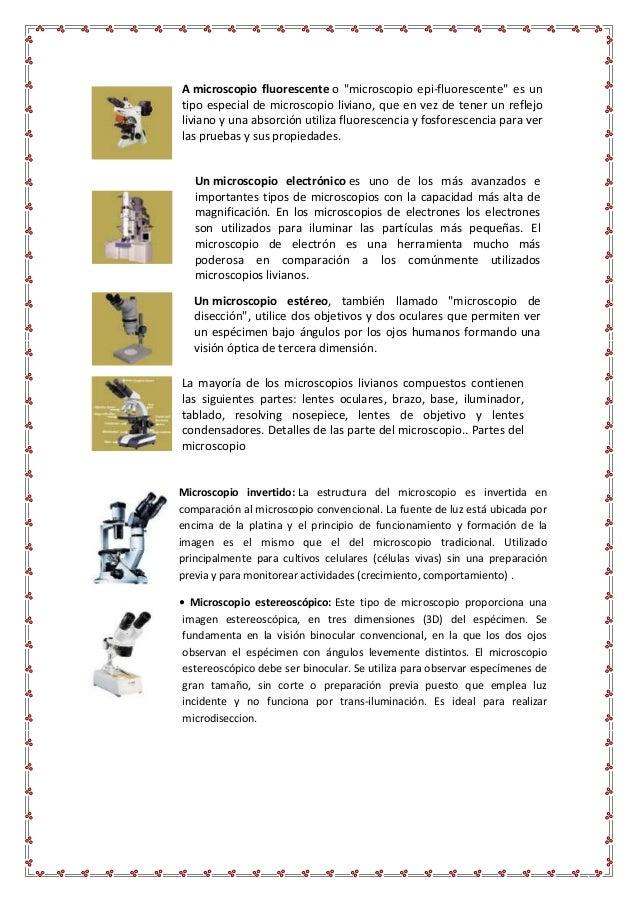 CLASES DE MICROSCOPIO