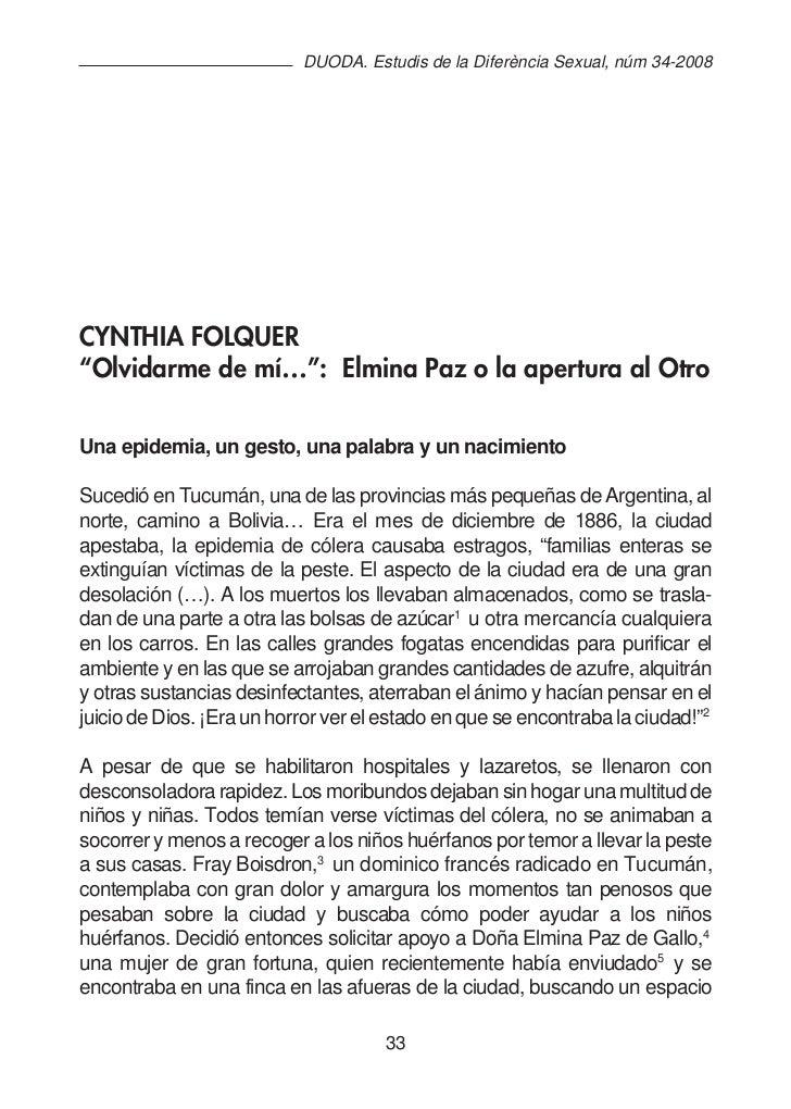 """DUODA. Estudis de la Diferència Sexual, núm 34-2008CYNTHIA FOLQUER""""Olvidarme de mí…"""": Elmina Paz o la apertura al OtroUna ..."""