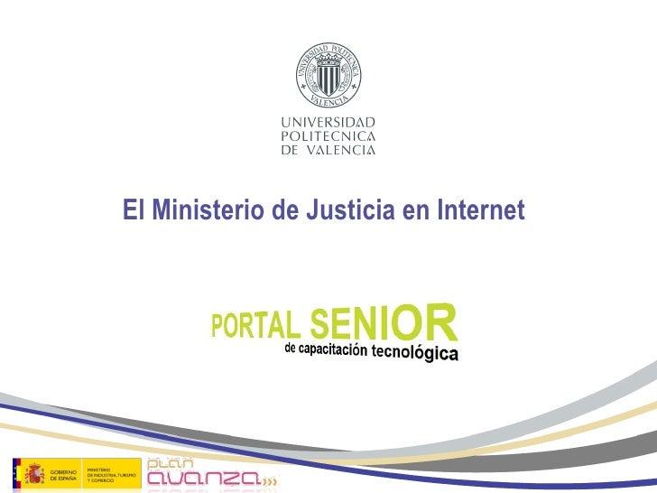 el ministerio de justicia en internet