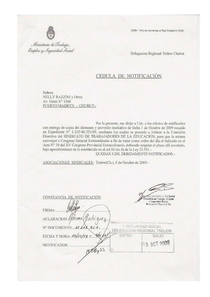 El Ministerio De Trabajo Intima Al Sitraed 20091005