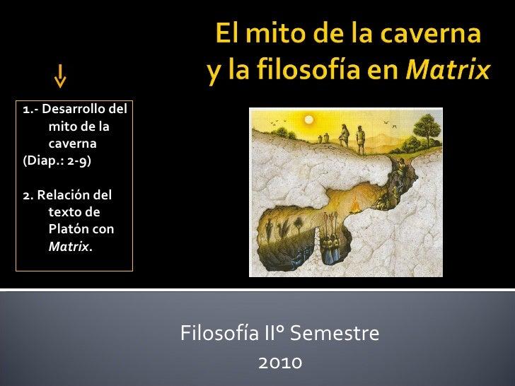 Filosofía II° Semestre 2010 ¿Qué Veremos Hoy? 1.- Desarrollo del mito de la caverna  (Diap.: 2-9) 2. Relación del texto de...