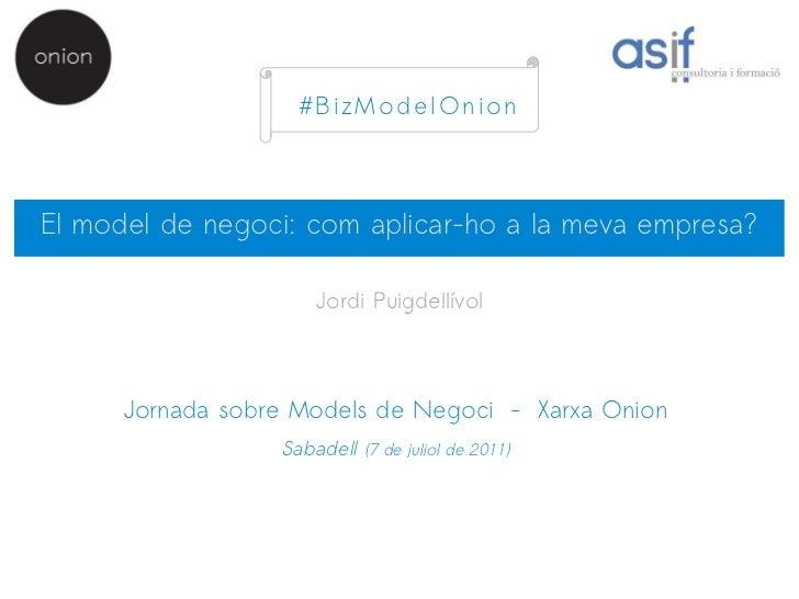 #BizModelOnionEl model de negoci: com aplicar-ho a la meva empresa?                      Jordi Puigdellívol      Jornada s...