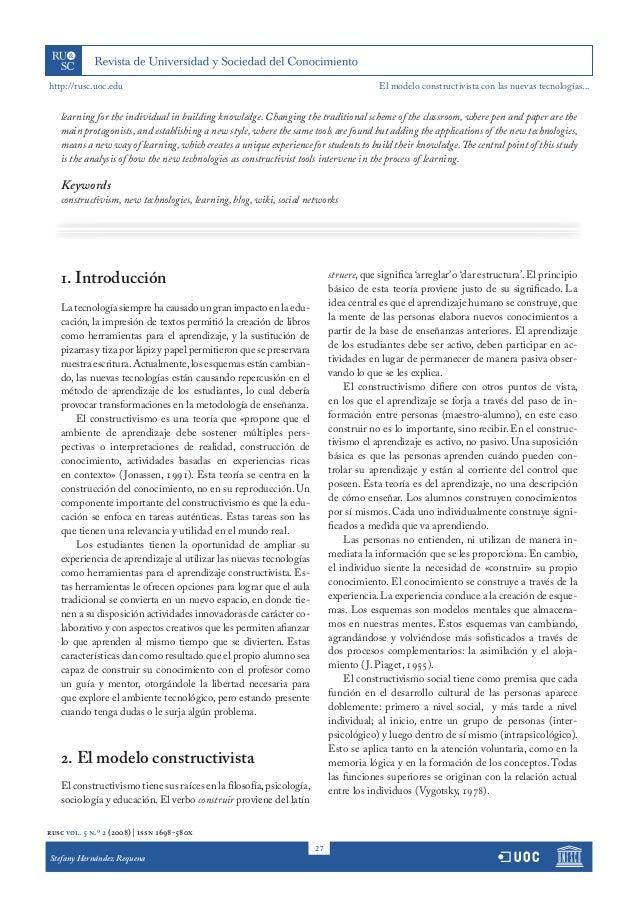 El modelo constructivista con las nuevas tecnologías aplicado en el proceso de aprendizaje Slide 2