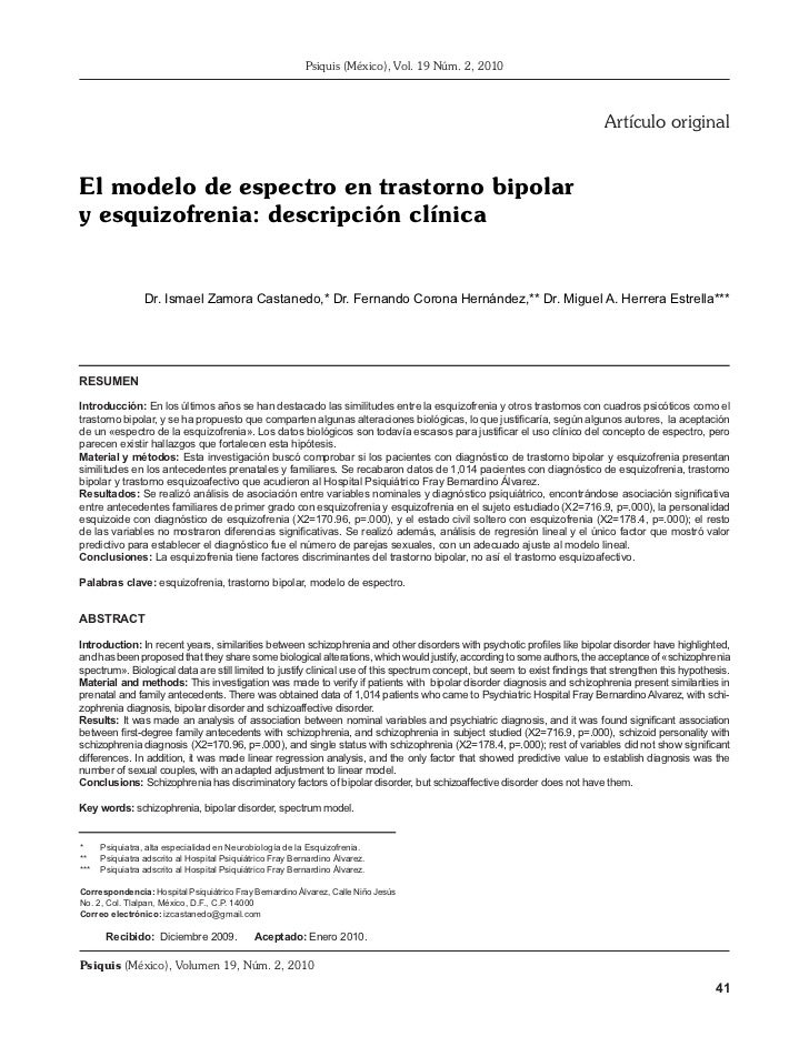 El modelo de espectro en trastorno bipolar yNúm. 2, 2010 descripción clínica                                              ...
