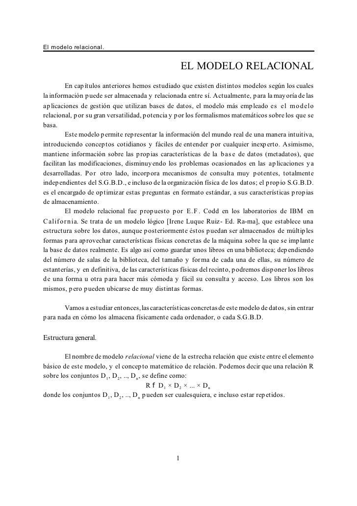 El modelo relacional.                                                      EL MODELO RELACIONAL         En capítulos anter...