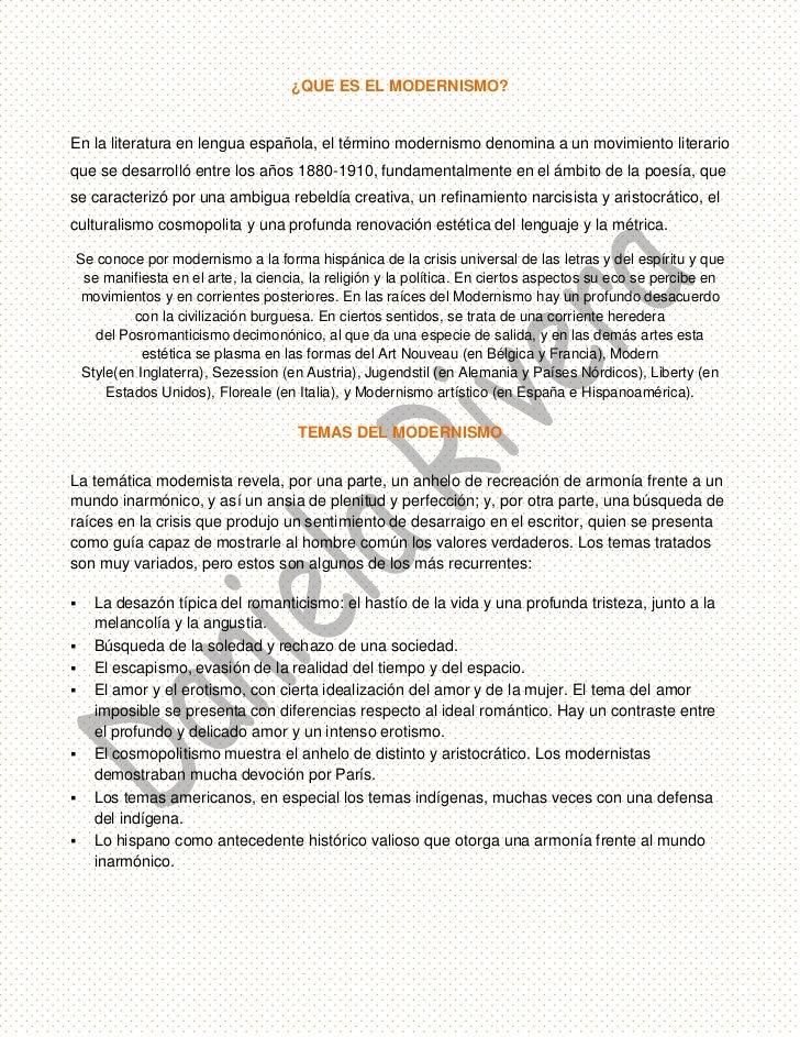 ¿QUE ES EL MODERNISMO?<br />En la literatura en lengua española, el términomodernismodenomina a un movimiento literario ...