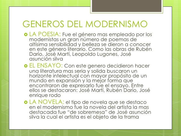 generos del modernismo