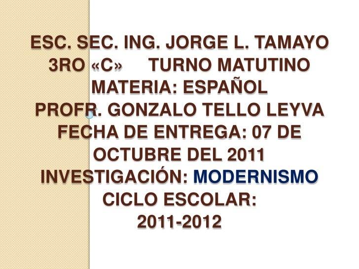 Esc. Sec. Ing. Jorge L. Tamayo3ro «C»     Turno matutinoMateria: españolprofr. Gonzalo Tello Leyvafecha de entrega: 07 de ...