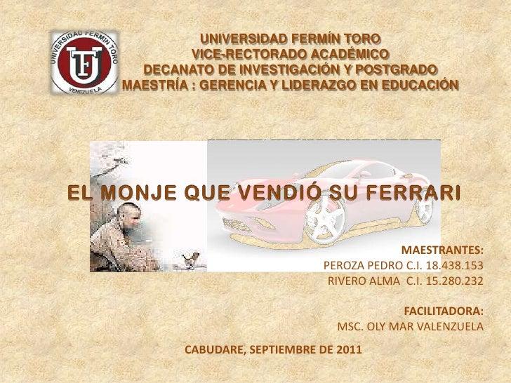 UNIVERSIDAD FERMÍN TORO<br />VICE-RECTORADO ACADÉMICO<br />DECANATO DE INVESTIGACIÓN Y POSTGRADO<br />MAESTRÍA : GERENCIA ...