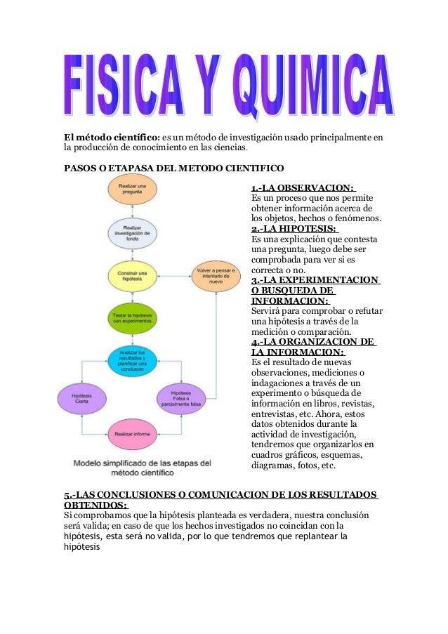El método científico: es un método de investigación usado principalmente en la producción de conocimiento en las ciencias....