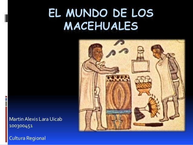 EL MUNDO DE LOS MACEHUALES MartinAlexis Lara Uicab 100300451 Cultura Regional