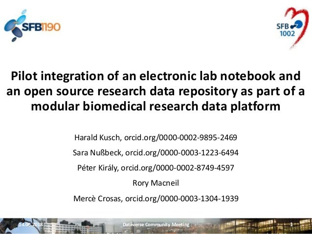 14.06.2018 Dataverse Community Meeting 1 Pilot integration of an electronic lab notebook and an open source research data ...