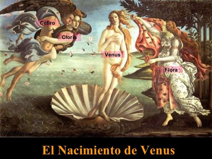 El Nacimiento de Venus Céfiro Cloris Venus Flora