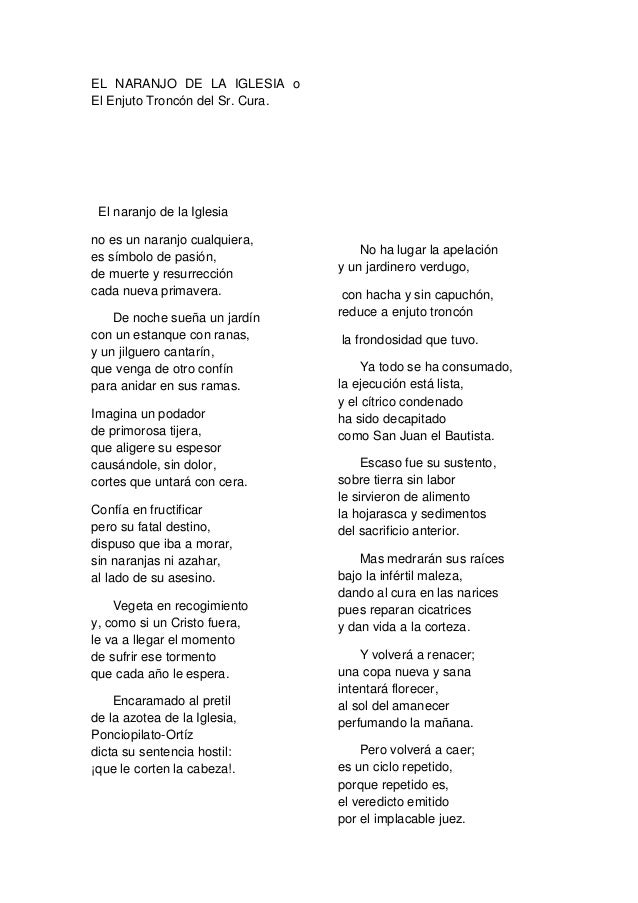 EL NARANJO DE LA IGLESIA oEl Enjuto Troncón del Sr. Cura. El naranjo de la Iglesiano es un naranjo cualquiera,es símbolo d...