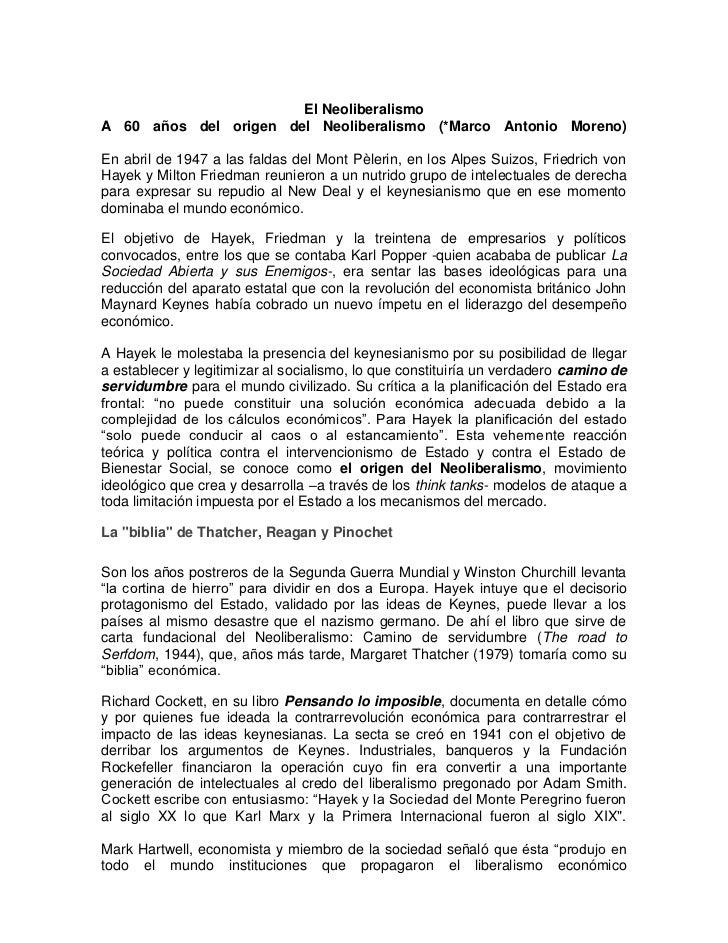 El NeoliberalismoA 60 años del origen del Neoliberalismo (*Marco Antonio Moreno)En abril de 1947 a las faldas del Mont Pèl...