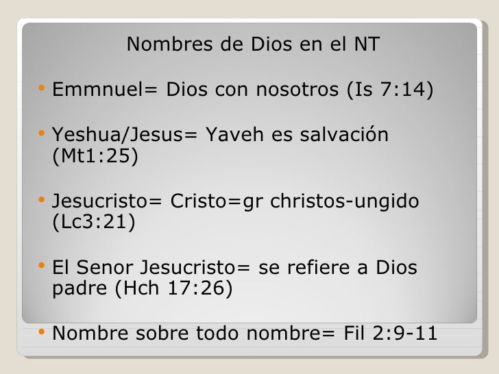 El Nombre De Dios Y Sus Significados