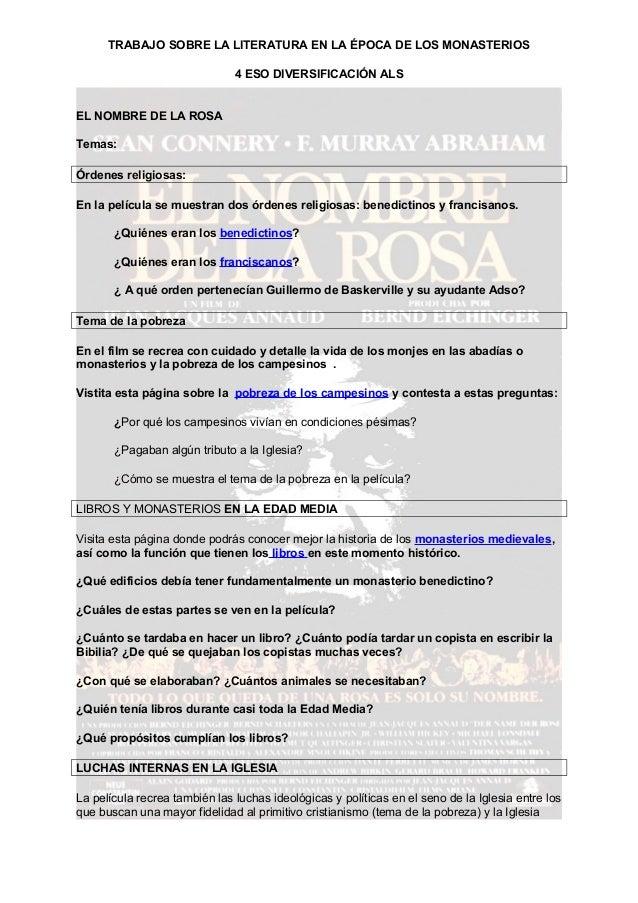 TRABAJO SOBRE LA LITERATURA EN LA ÉPOCA DE LOS MONASTERIOS4 ESO DIVERSIFICACIÓN ALSEL NOMBRE DE LA ROSATemas:Órdenes relig...