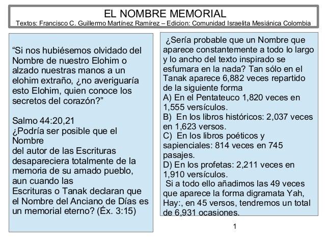 """1 EL NOMBRE MEMORIAL Textos: Francisco C. Guillermo Martínez Ramírez – Edicion: Comunidad Israelita Mesiánica Colombia """"Si..."""