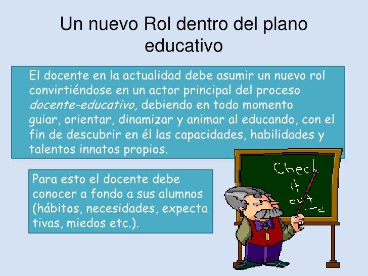 Un nuevo Rol dentro del plano              educativoEl docente en la actualidad debe asumir un nuevo rolconvirtiéndose en ...