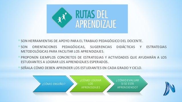 ¿cómo se presentan las rutas de aprendizaje?  ENFOQUE PEDAGÓGICO PARA CADA APRENDIZAJE.  LAS CONDICIONES Y ESCENARIOS PARA...