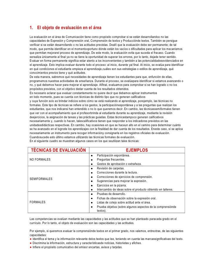 1. El objeto de evaluación en el áreaLa evaluación en el área de Comunicación tiene como propósito comprobar si se están d...