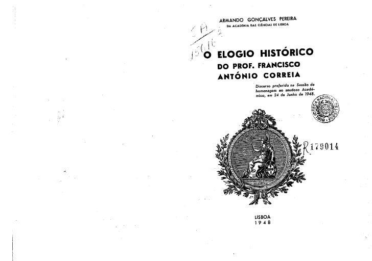Elogio Histórico do Prof. Francisco António Correia
