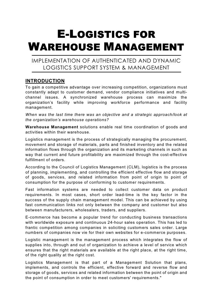 E-LOGISTICS FOR  WAREHOUSE MANAGEMENT    IMPLEMENTATION OF AUTHENTICATED AND DYNAMIC       LOGISTICS SUPPORT SYSTEM & MANA...