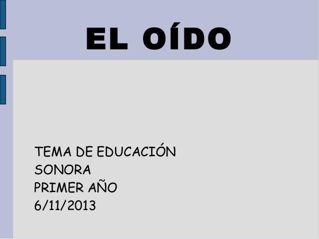 EL OÍDO  TEMA DE EDUCACIÓN SONORA PRIMER AÑO 6/11/2013
