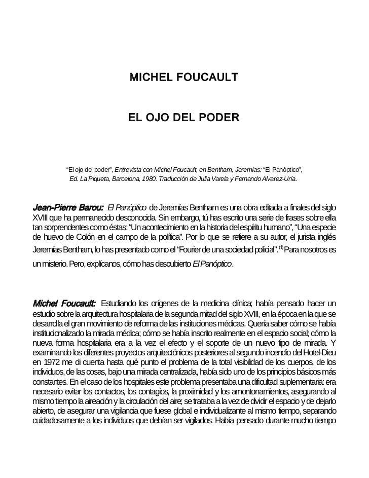 "MICHEL FOUCAULT                                  EL OJO DEL PODER           ""El ojo del poder"", Entrevista con Michel Fouc..."