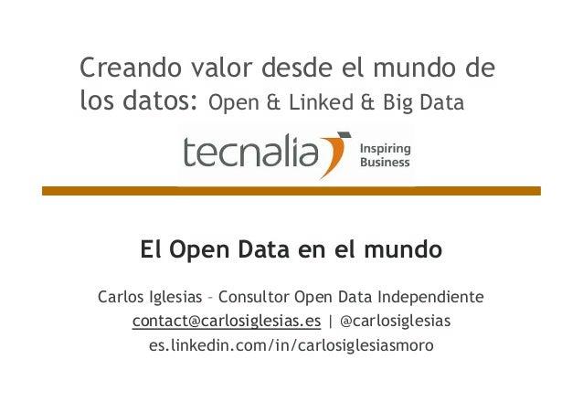 El Open Data en el mundo Carlos Iglesias – Consultor Open Data Independiente contact@carlosiglesias.es | @carlosiglesias e...