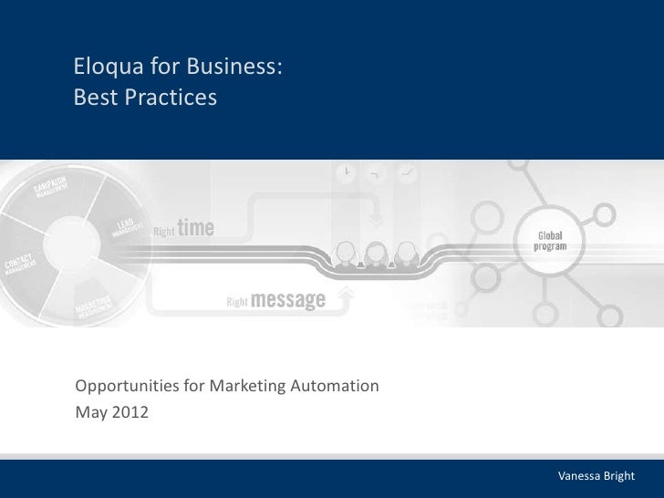 Eloqua for Business:Best PracticesOpportunities for Marketing AutomationMay 2012                                         V...